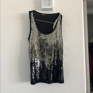 Silver and black sequin tank top
